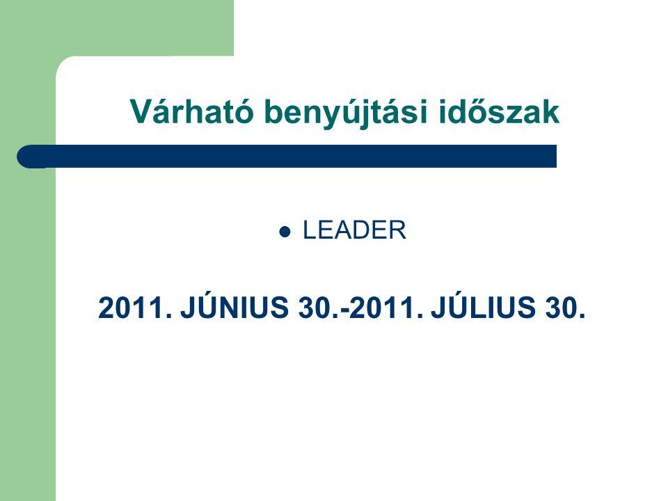 Várható benyújtási időszak LEADER 2011. JÚNIUS 30.-2011. JÚLIUS 30.