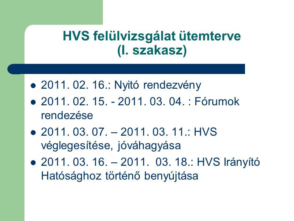 HVS felülvizsgálat ütemterve (I. szakasz) 2011. 02. 16.: Nyitó rendezvény 2011. 02. 15. - 2011. 03. 04. : Fórumok rendezése 2011. 03. 07. – 2011. 03.