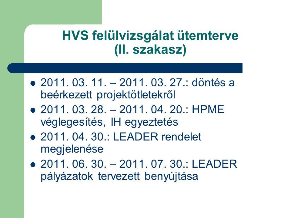 HVS felülvizsgálat ütemterve (II. szakasz) 2011. 03. 11. – 2011. 03. 27.: döntés a beérkezett projektötletekről 2011. 03. 28. – 2011. 04. 20.: HPME vé