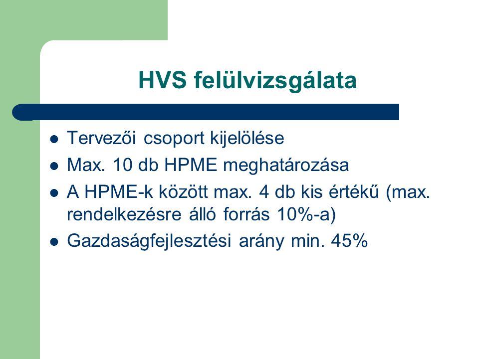 HVS felülvizsgálata Tervezői csoport kijelölése Max. 10 db HPME meghatározása A HPME-k között max. 4 db kis értékű (max. rendelkezésre álló forrás 10%