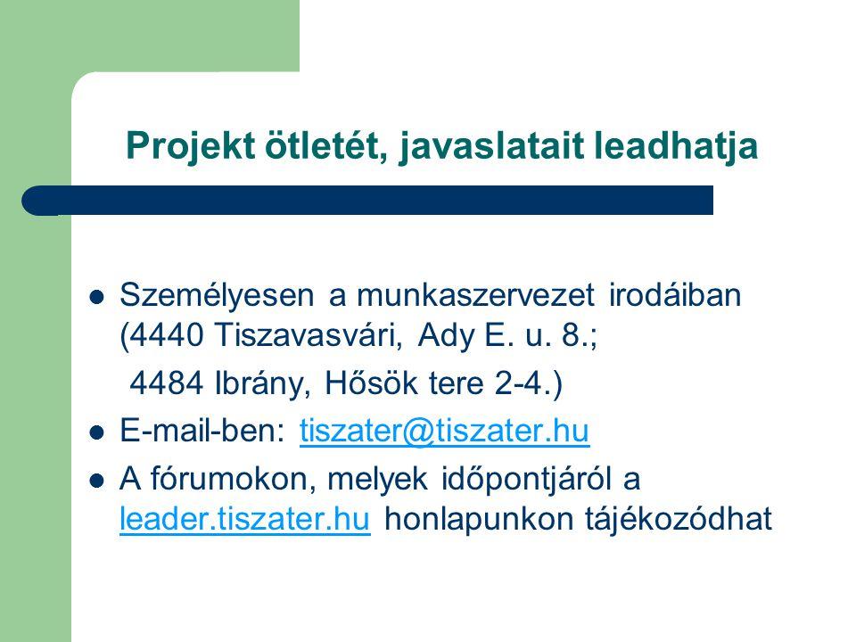 Projekt ötletét, javaslatait leadhatja Személyesen a munkaszervezet irodáiban (4440 Tiszavasvári, Ady E. u. 8.; 4484 Ibrány, Hősök tere 2-4.) E-mail-b