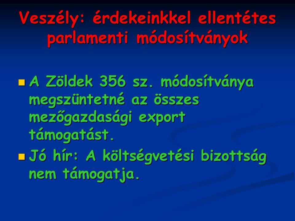 Veszély: érdekeinkkel ellentétes parlamenti módosítványok A Zöldek 356 sz.