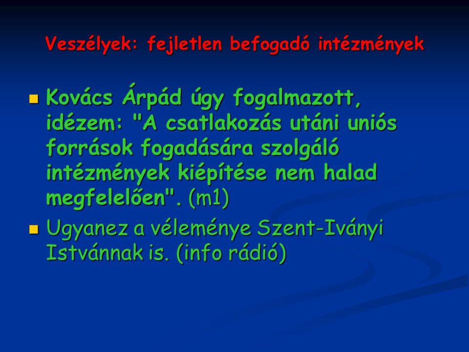 Veszélyek: fejletlen befogadó intézmények Kovács Árpád úgy fogalmazott, idézem: A csatlakozás utáni uniós források fogadására szolgáló intézmények kiépítése nem halad megfelelően .