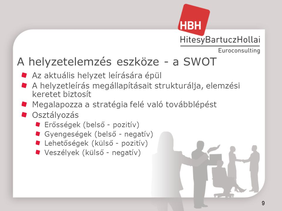 9 A helyzetelemzés eszköze - a SWOT Az aktuális helyzet leírására épül A helyzetleírás megállapításait strukturálja, elemzési keretet biztosít Megalapozza a stratégia felé való továbblépést Osztályozás Erősségek (belső - pozitív) Gyengeségek (belső - negatív) Lehetőségek (külső - pozitív) Veszélyek (külső - negatív)