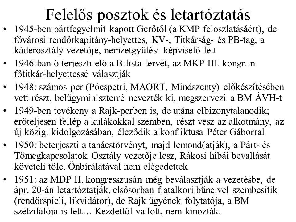 Felelős posztok és letartóztatás 1945-ben pártfegyelmit kapott Gerőtől (a KMP feloszlatásáért), de fővárosi rendőrkapitány-helyettes, KV-, Titkárság-