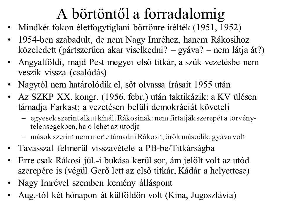 A börtöntől a forradalomig Mindkét fokon életfogytiglani börtönre ítélték (1951, 1952) 1954-ben szabadult, de nem Nagy Imréhez, hanem Rákosihoz közeledett (pártszerűen akar viselkedni.