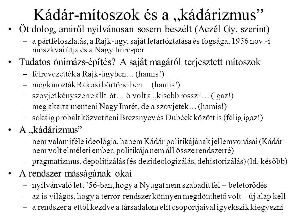 """Kádár-mítoszok és a """"kádárizmus"""" Öt dolog, amiről nyilvánosan sosem beszélt (Aczél Gy. szerint) –a pártfeloszlatás, a Rajk-ügy, saját letartóztatása é"""