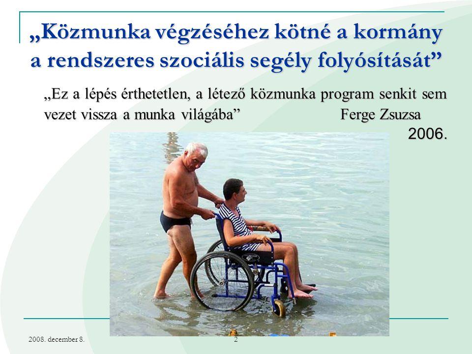 2008.december 8. 3 Segély-közfoglalkoztatás 1. Mi a probléma.