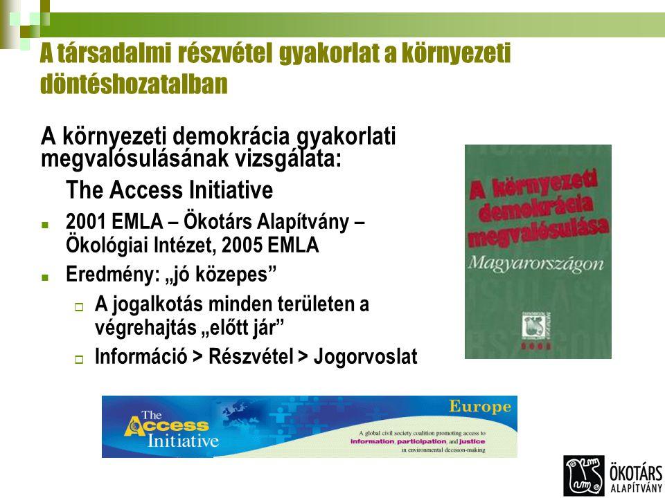 """A társadalmi részvétel gyakorlat a környezeti döntéshozatalban A környezeti demokrácia gyakorlati megvalósulásának vizsgálata: The Access Initiative 2001 EMLA – Ökotárs Alapítvány – Ökológiai Intézet, 2005 EMLA Eredmény: """"jó közepes  A jogalkotás minden területen a végrehajtás """"előtt jár  Információ > Részvétel > Jogorvoslat"""