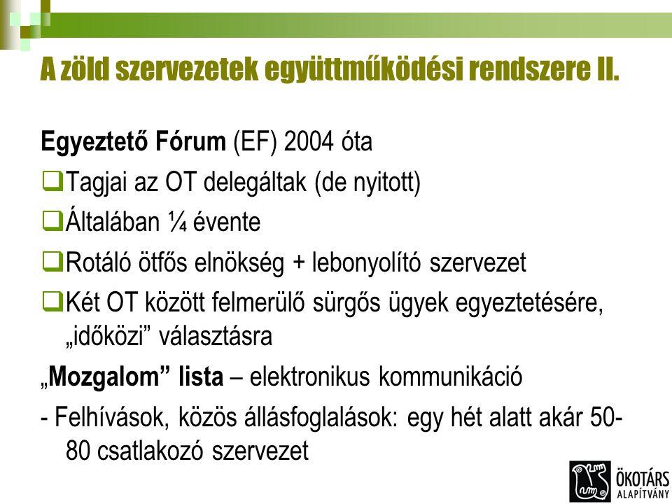 A zöld szervezetek együttműködési rendszere II. Egyeztető Fórum (EF) 2004 óta  Tagjai az OT delegáltak (de nyitott)  Általában ¼ évente  Rotáló ötf