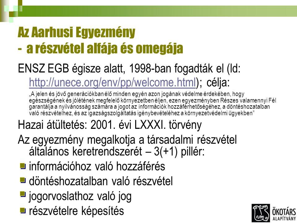 """Az Aarhusi Egyezmény - a részvétel alfája és omegája ENSZ EGB égisze alatt, 1998-ban fogadták el (ld: http://unece.org/env/pp/welcome.html); célja: http://unece.org/env/pp/welcome.html """"A jelen és jövő generációkban élő minden egyén azon jogának védelme érdekében, hogy egészségének és jólétének megfelelő környezetben éljen, ezen egyezményben Részes valamennyi Fél garantálja a nyilvánosság számára a jogot az információk hozzáférhetőségéhez, a döntéshozatalban való részvételhez, és az igazságszolgáltatás igénybevételéhez a környezetvédelmi ügyekben Hazai átültetés: 2001."""