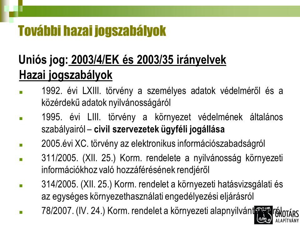 További hazai jogszabályok Hazai jogszabályok 1992. évi LXIII. törvény a személyes adatok védelméről és a közérdekű adatok nyilvánosságáról 1995. évi