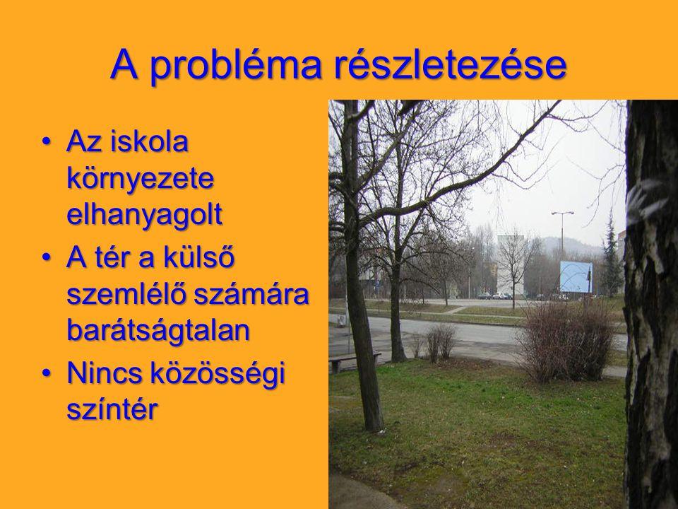 A probléma részletezése Az iskola környezete elhanyagoltAz iskola környezete elhanyagolt A tér a külső szemlélő számára barátságtalanA tér a külső sze