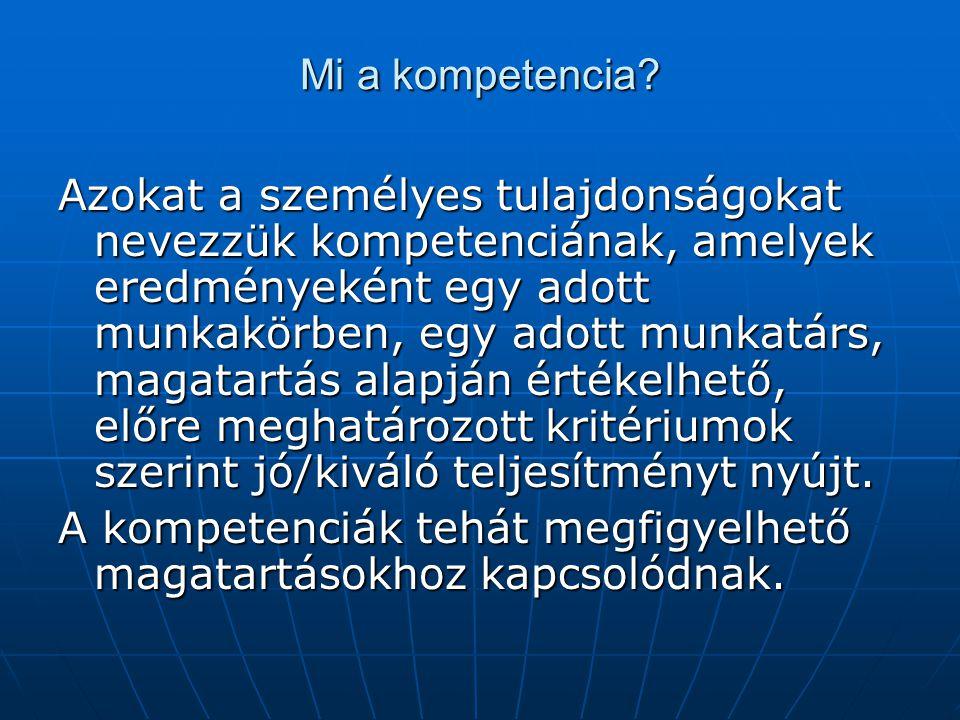 Mi a kompetencia? Azokat a személyes tulajdonságokat nevezzük kompetenciának, amelyek eredményeként egy adott munkakörben, egy adott munkatárs, magata