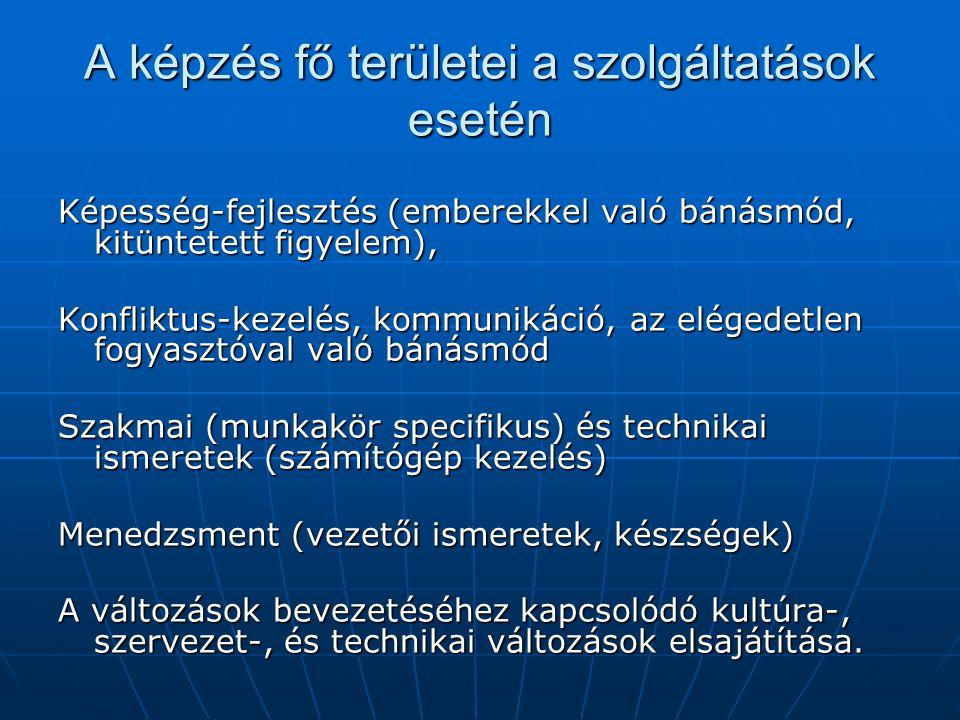 A képzés fő területei a szolgáltatások esetén Képesség-fejlesztés (emberekkel való bánásmód, kitüntetett figyelem), Konfliktus-kezelés, kommunikáció, az elégedetlen fogyasztóval való bánásmód Szakmai (munkakör specifikus) és technikai ismeretek (számítógép kezelés) Menedzsment (vezetői ismeretek, készségek) A változások bevezetéséhez kapcsolódó kultúra-, szervezet-, és technikai változások elsajátítása.