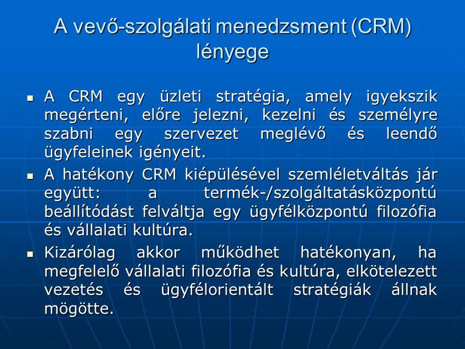A vevő-szolgálati menedzsment (CRM) lényege A CRM egy üzleti stratégia, amely igyekszik megérteni, előre jelezni, kezelni és személyre szabni egy szervezet meglévő és leendő ügyfeleinek igényeit.