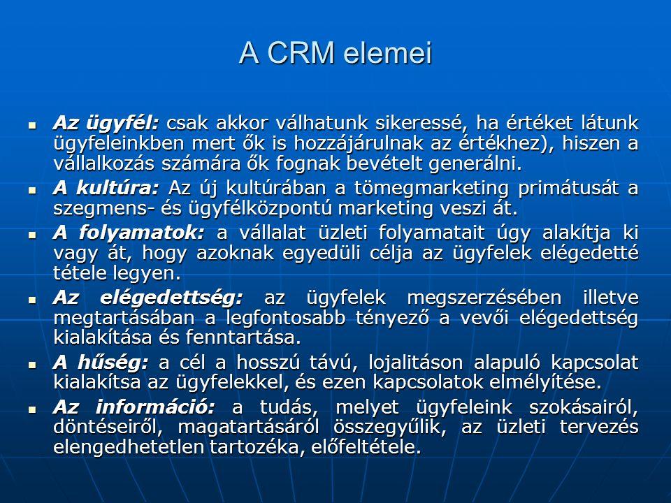 A CRM elemei Az ügyfél: csak akkor válhatunk sikeressé, ha értéket látunk ügyfeleinkben mert ők is hozzájárulnak az értékhez), hiszen a vállalkozás számára ők fognak bevételt generálni.