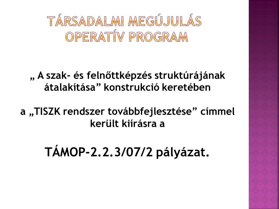 """"""" A szak- és felnőttképzés struktúrájának átalakítása"""" konstrukció keretében a """"TISZK rendszer továbbfejlesztése"""" címmel került kiírásra a TÁMOP-2.2.3"""