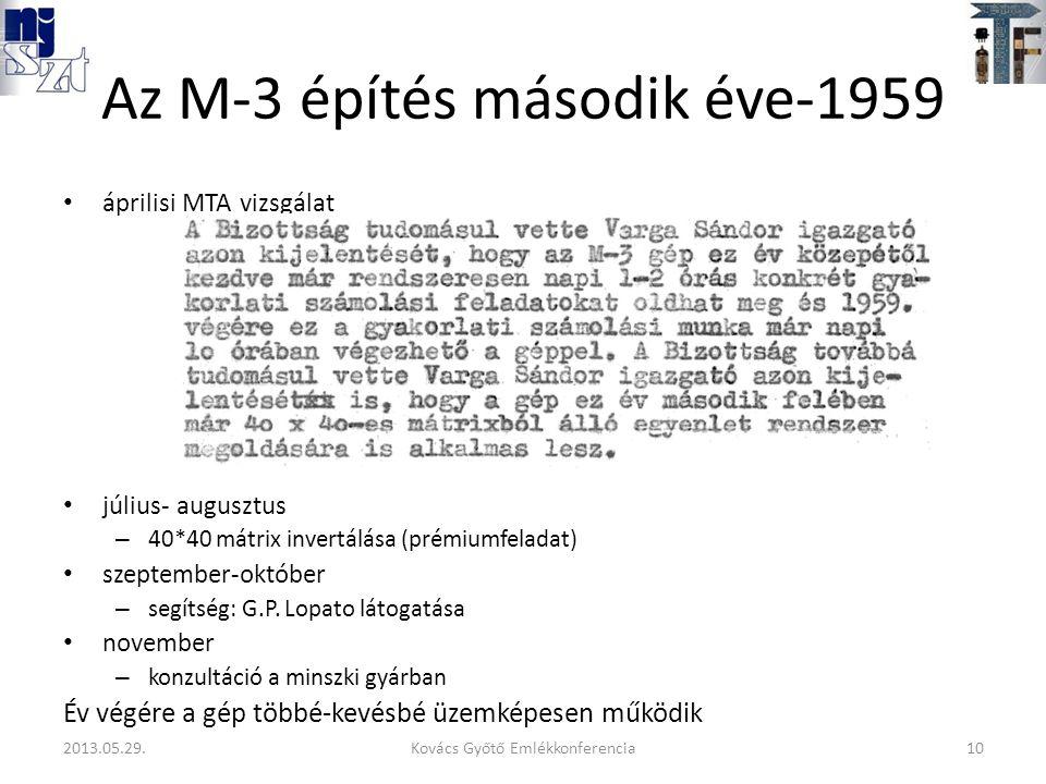 Az M-3 építés második éve-1959 áprilisi MTA vizsgálat július- augusztus – 40*40 mátrix invertálása (prémiumfeladat) szeptember-október – segítség: G.P.
