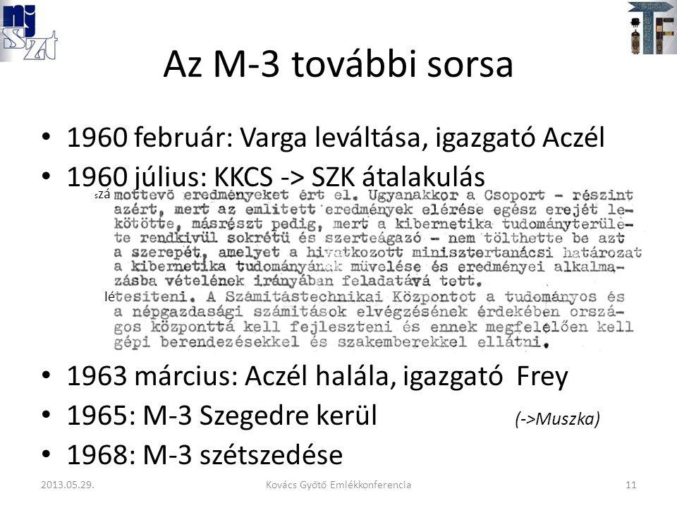 Az M-3 további sorsa 1960 február: Varga leváltása, igazgató Aczél 1960 július: KKCS -> SZK átalakulás 1963 március: Aczél halála, igazgató Frey 1965: M-3 Szegedre kerül (->Muszka) 1968: M-3 szétszedése s zá lé 11Kovács Győtő Emlékkonferencia2013.05.29.