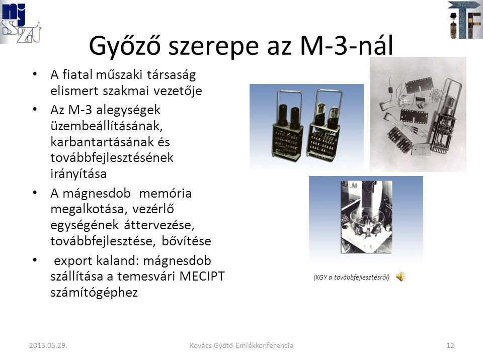 Győző szerepe az M-3-nál A fiatal műszaki társaság elismert szakmai vezetője Az M-3 alegységek üzembeállításának, karbantartásának és továbbfejlesztésének irányítása A mágnesdob memória megalkotása, vezérlő egységének áttervezése, továbbfejlesztése, bővítése export kaland: mágnesdob szállítása a temesvári MECIPT számítógéphez (KGY a továbbfejlesztésről) 12Kovács Győtő Emlékkonferencia2013.05.29.