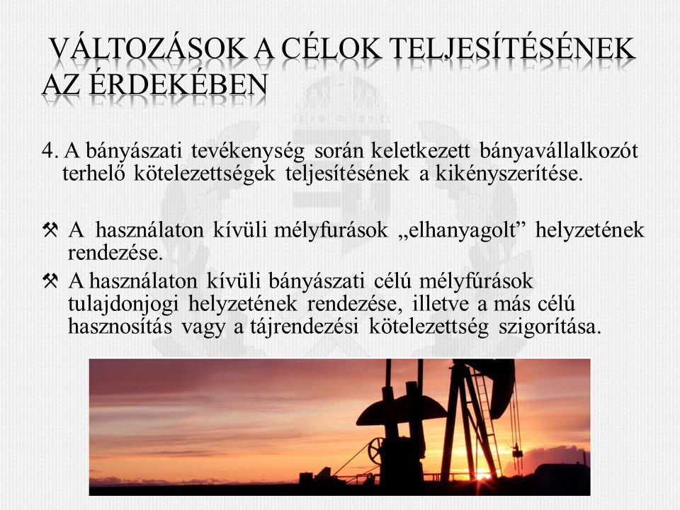 4. A bányászati tevékenység során keletkezett bányavállalkozót terhelő kötelezettségek teljesítésének a kikényszerítése. A használaton kívüli mélyfurá
