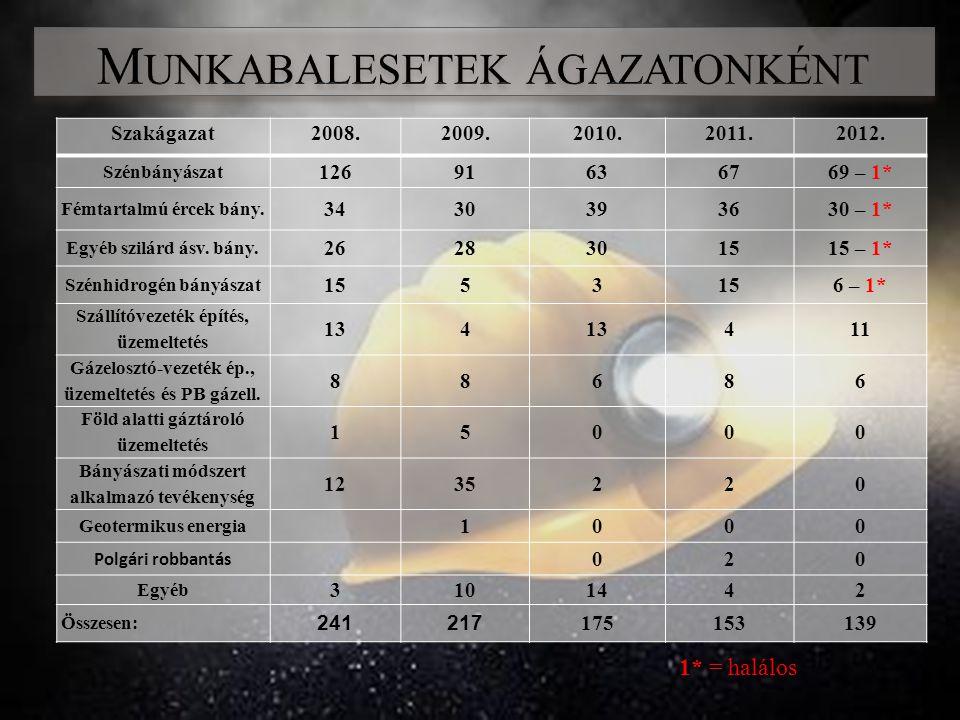 Szakágazat2008.2009. 2010.2011.2012. Szénbányászat 12691 636769 – 1* Fémtartalmú ércek bány.