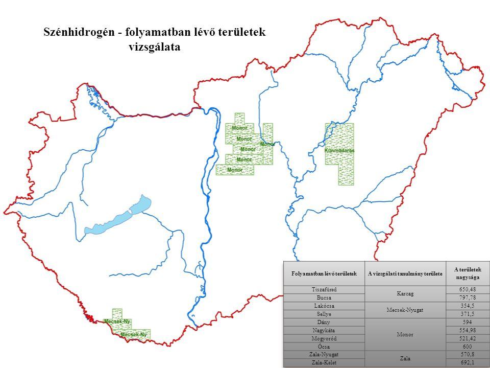 Szénhidrogén - folyamatban lévő területek vizsgálata