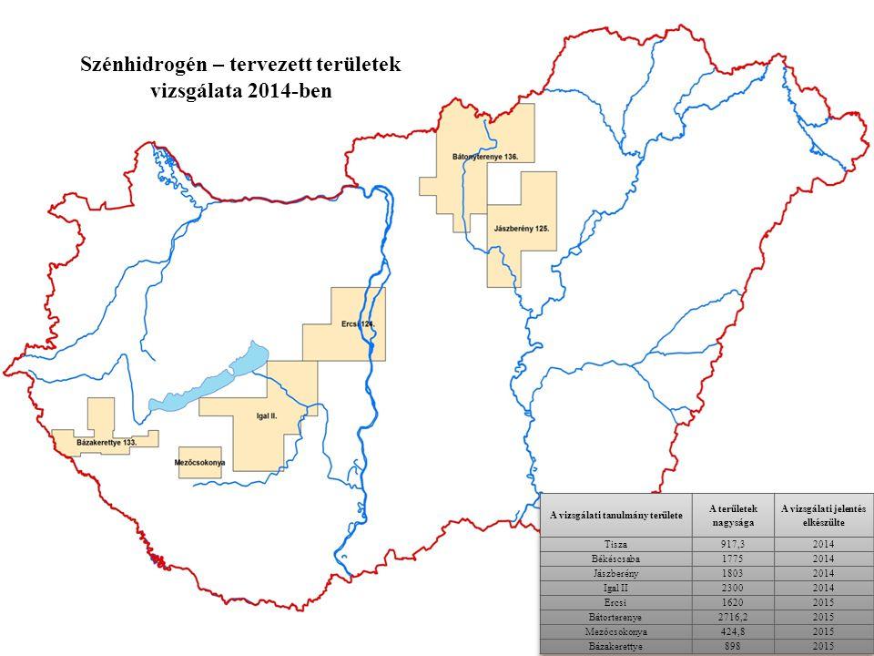 Szénhidrogén – tervezett területek vizsgálata 2014-ben