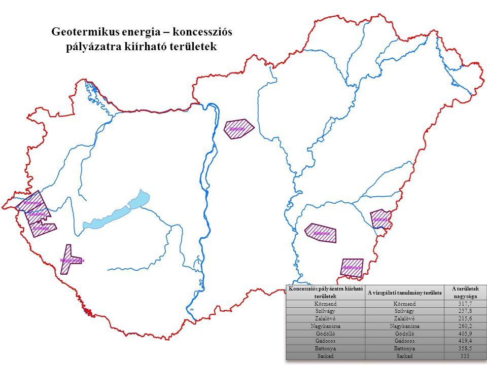 Geotermikus energia – koncessziós pályázatra kiírható területek