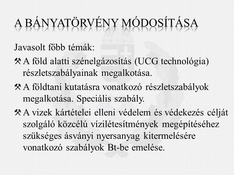 Javasolt főbb témák: A föld alatti szénelgázosítás (UCG technológia) részletszabályainak megalkotása.