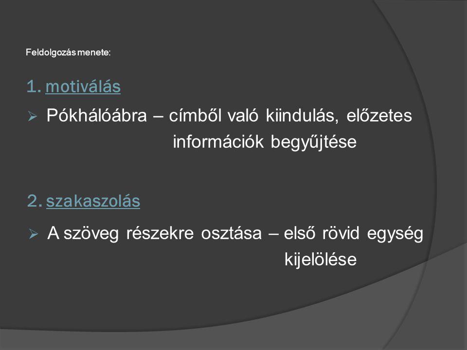 1. motiválás Feldolgozás menete:  A szöveg részekre osztása – első rövid egység kijelölése 2. szakaszolás  Pókhálóábra – címből való kiindulás, előz