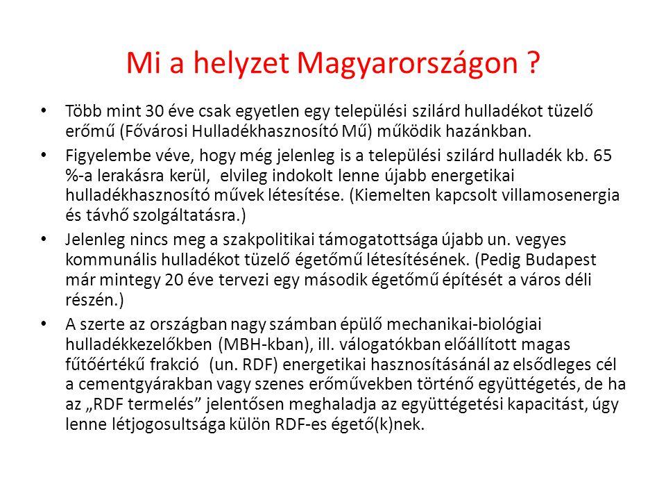 Mi a helyzet Magyarországon ? Több mint 30 éve csak egyetlen egy települési szilárd hulladékot tüzelő erőmű (Fővárosi Hulladékhasznosító Mű) működik h