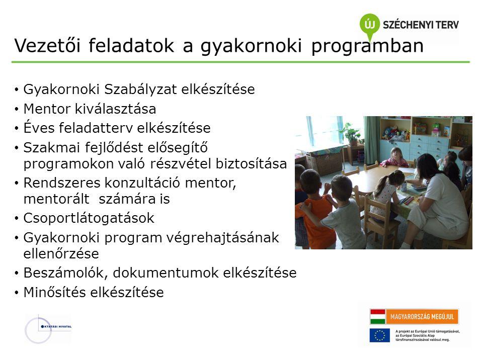 Vezetői feladatok a gyakornoki programban Gyakornoki Szabályzat elkészítése Mentor kiválasztása Éves feladatterv elkészítése Szakmai fejlődést elősegí