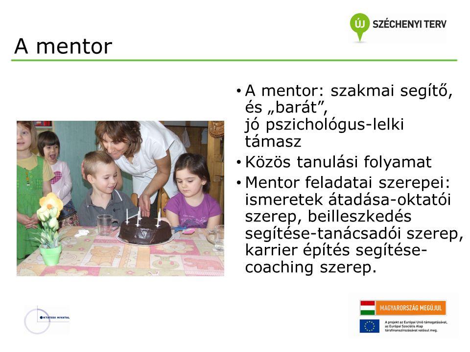 """A mentor A mentor: szakmai segítő, és """"barát"""", jó pszichológus-lelki támasz Közös tanulási folyamat Mentor feladatai szerepei: ismeretek átadása-oktat"""