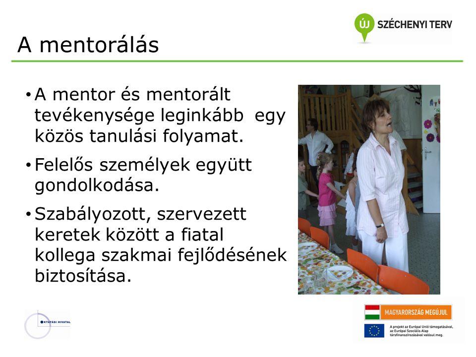 A mentorálás A mentor és mentorált tevékenysége leginkább egy közös tanulási folyamat. Felelős személyek együtt gondolkodása. Szabályozott, szervezett