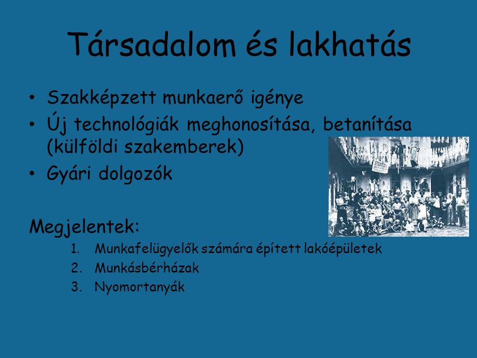 Társadalom és lakhatás Szakképzett munkaerő igénye Új technológiák meghonosítása, betanítása (külföldi szakemberek) Gyári dolgozók Megjelentek: 1.Munk