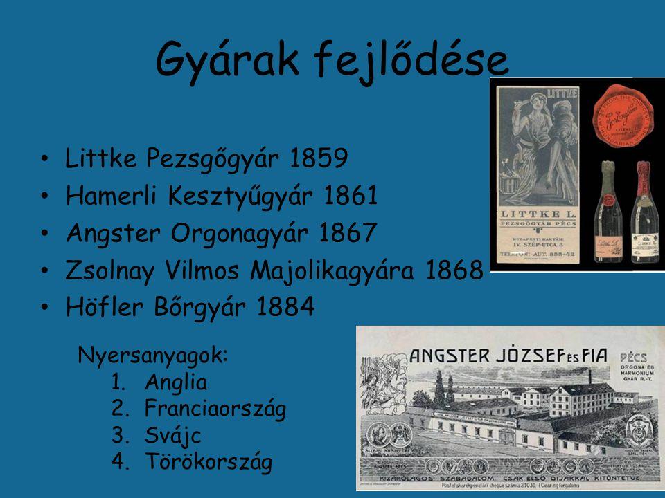 Gyárak fejlődése Littke Pezsgőgyár 1859 Hamerli Kesztyűgyár 1861 Angster Orgonagyár 1867 Zsolnay Vilmos Majolikagyára 1868 Höfler Bőrgyár 1884 Nyersanyagok: 1.Anglia 2.Franciaország 3.Svájc 4.Törökország