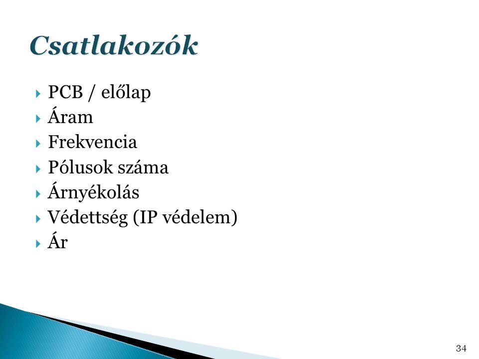  PCB / előlap  Áram  Frekvencia  Pólusok száma  Árnyékolás  Védettség (IP védelem)  Ár 34