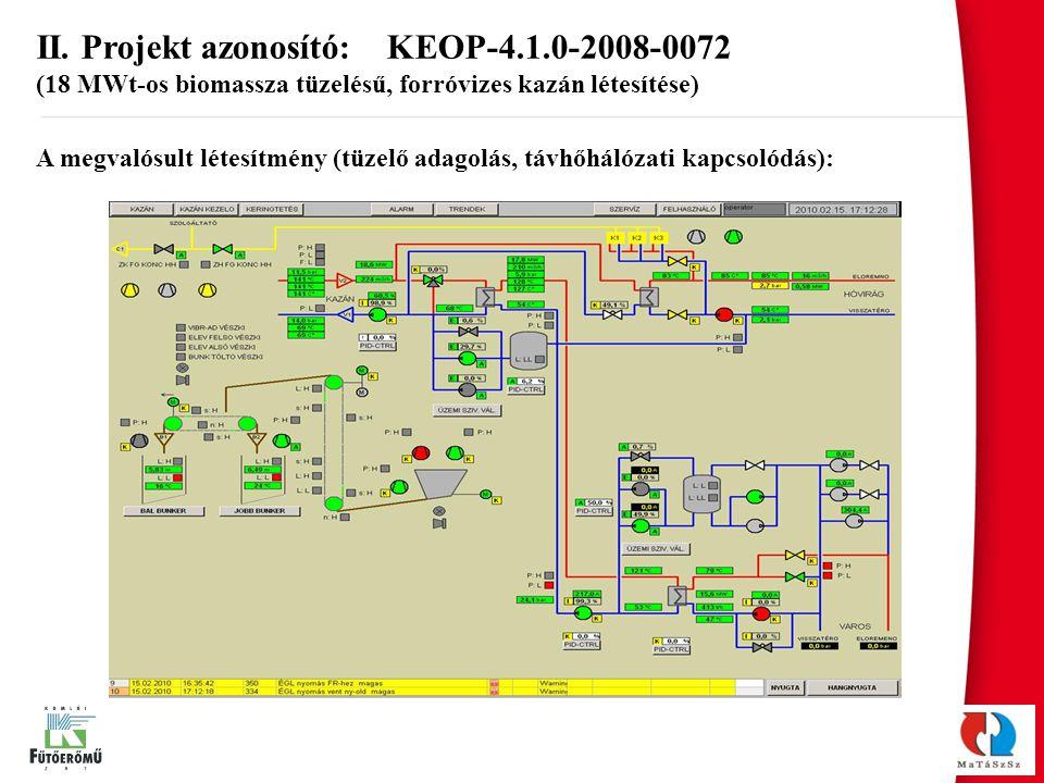A megvalósult létesítmény (tüzelő adagolás, távhőhálózati kapcsolódás): II. Projekt azonosító: KEOP-4.1.0-2008-0072 (18 MWt-os biomassza tüzelésű, for