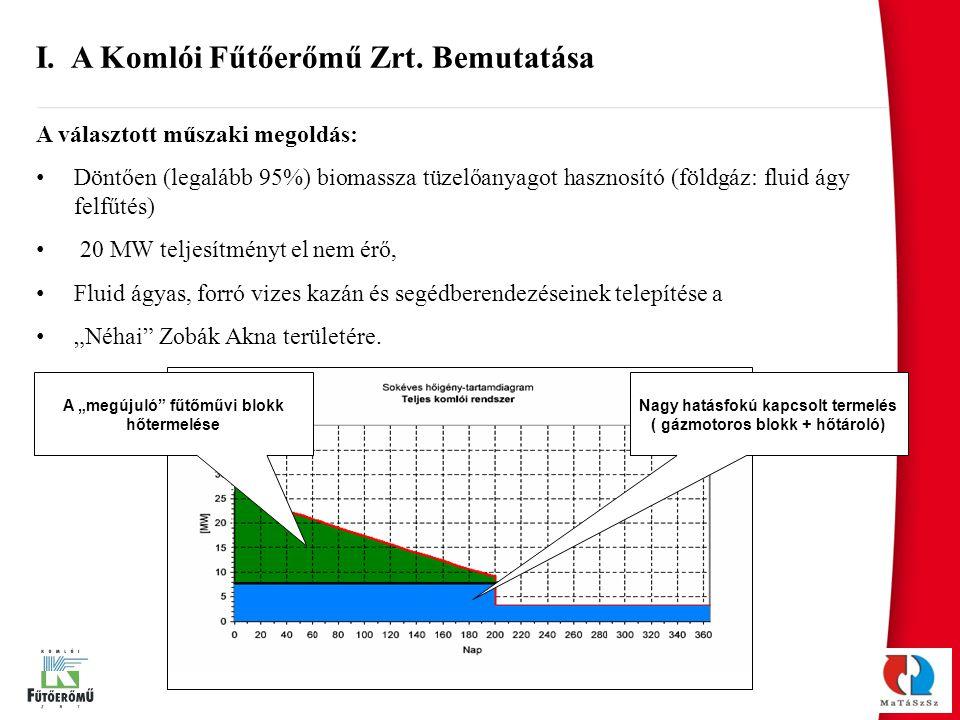 A választott műszaki megoldás: Döntően (legalább 95%) biomassza tüzelőanyagot hasznosító (földgáz: fluid ágy felfűtés) 20 MW teljesítményt el nem érő,