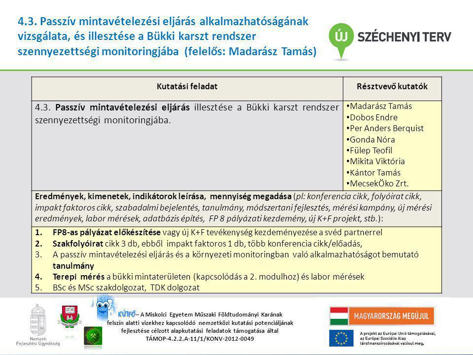 """""""A Miskolci Egyetemen működő tudományos képzési műhelyek összehangolt minőségi fejlesztése TÁMOP-4.2.2/B-10/1-2010-0008 KÚTFŐ KÚTFŐ – A Miskolci Egyetem Műszaki Földtudományi Karának felszín alatti vizekhez kapcsolódó nemzetközi kutatási potenciáljának fejlesztése célzott alapkutatási feladatok támogatása által TÁMOP-4.2.2.A-11/1/KONV-2012-0049 4.3."""