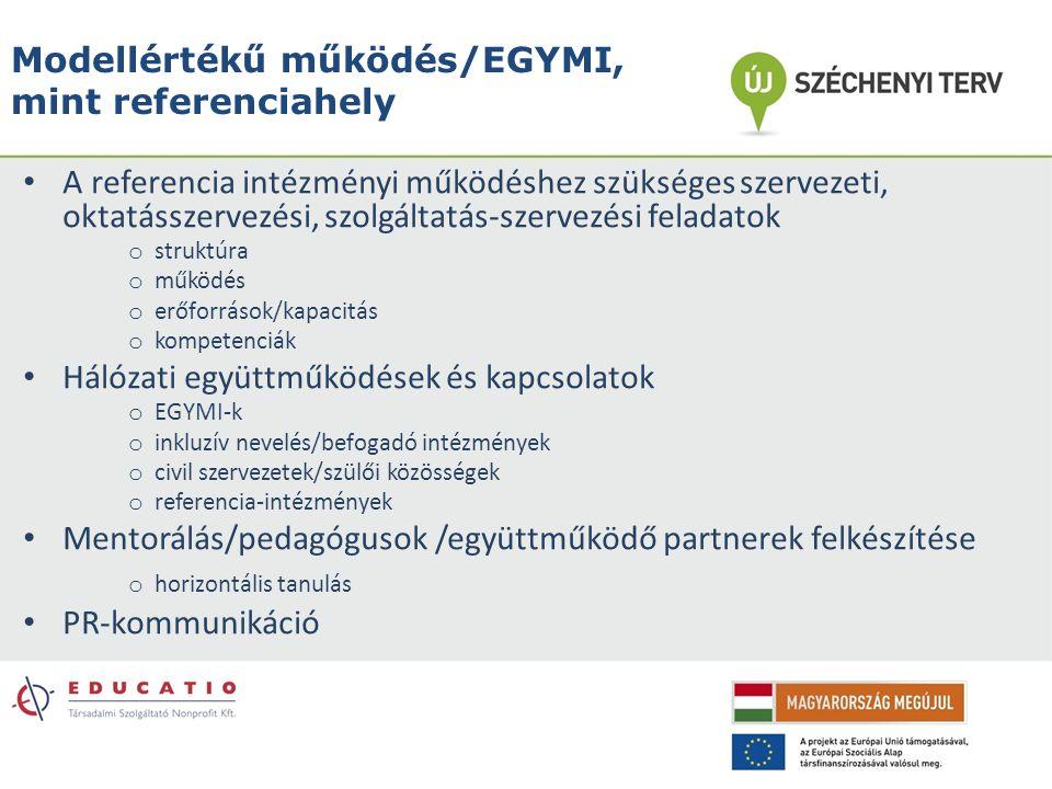 Modellértékű működés/EGYMI, mint referenciahely A referencia intézményi működéshez szükséges szervezeti, oktatásszervezési, szolgáltatás-szervezési fe
