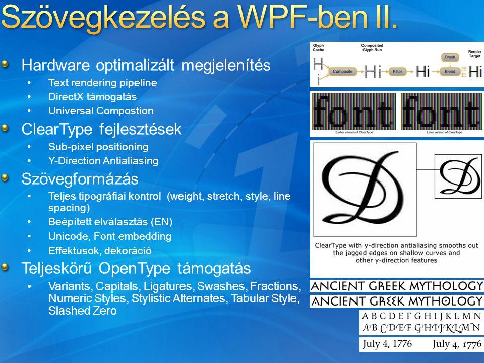 Hardware optimalizált megjelenítés Text rendering pipeline DirectX támogatás Universal Compostion ClearType fejlesztések Sub-pixel positioning Y-Direction Antialiasing Szövegformázás Teljes tipográfiai kontrol (weight, stretch, style, line spacing) Beépített elválasztás (EN) Unicode, Font embedding Effektusok, dekoráció Teljeskörű OpenType támogatás Variants, Capitals, Ligatures, Swashes, Fractions, Numeric Styles, Stylistic Alternates, Tabular Style, Slashed Zero