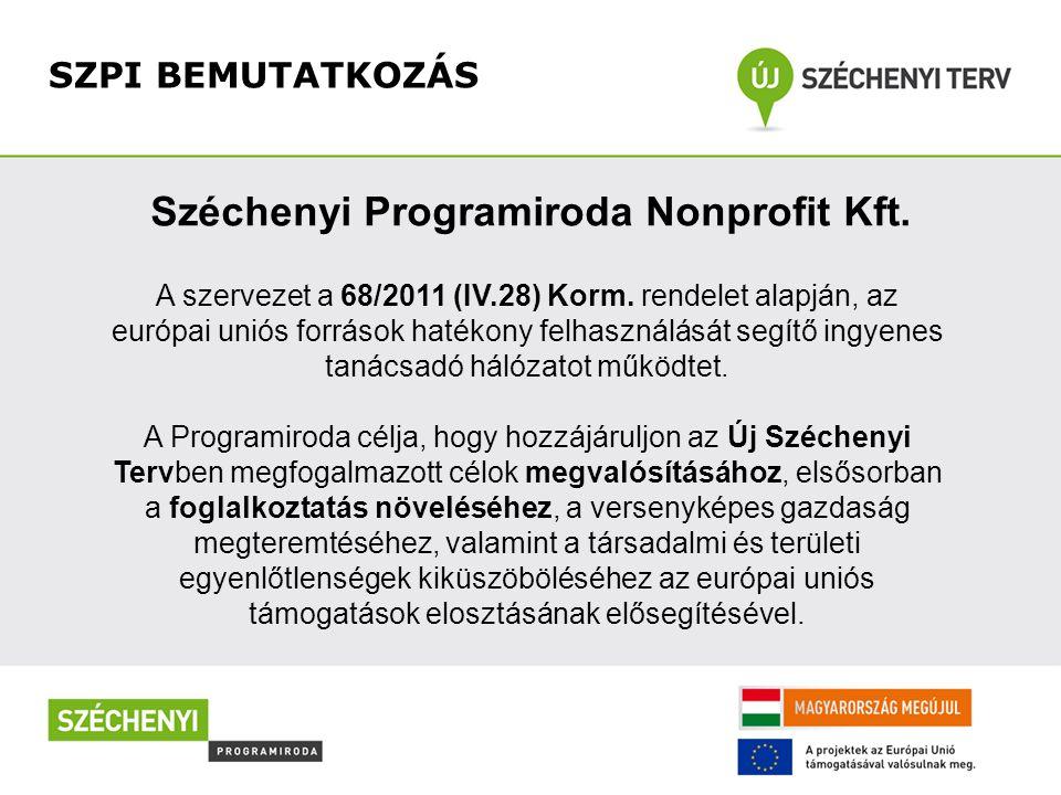 SZPI BEMUTATKOZÁS Széchenyi Programiroda Nonprofit Kft. A szervezet a 68/2011 (IV.28) Korm. rendelet alapján, az európai uniós források hatékony felha