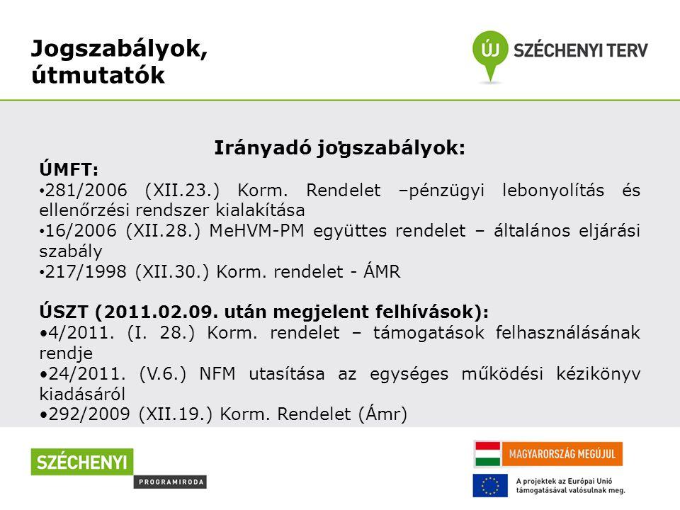 Jogszabályok, útmutatók. Irányadó jogszabályok: ÚMFT: 281/2006 (XII.23.) Korm. Rendelet –pénzügyi lebonyolítás és ellenőrzési rendszer kialakítása 16/