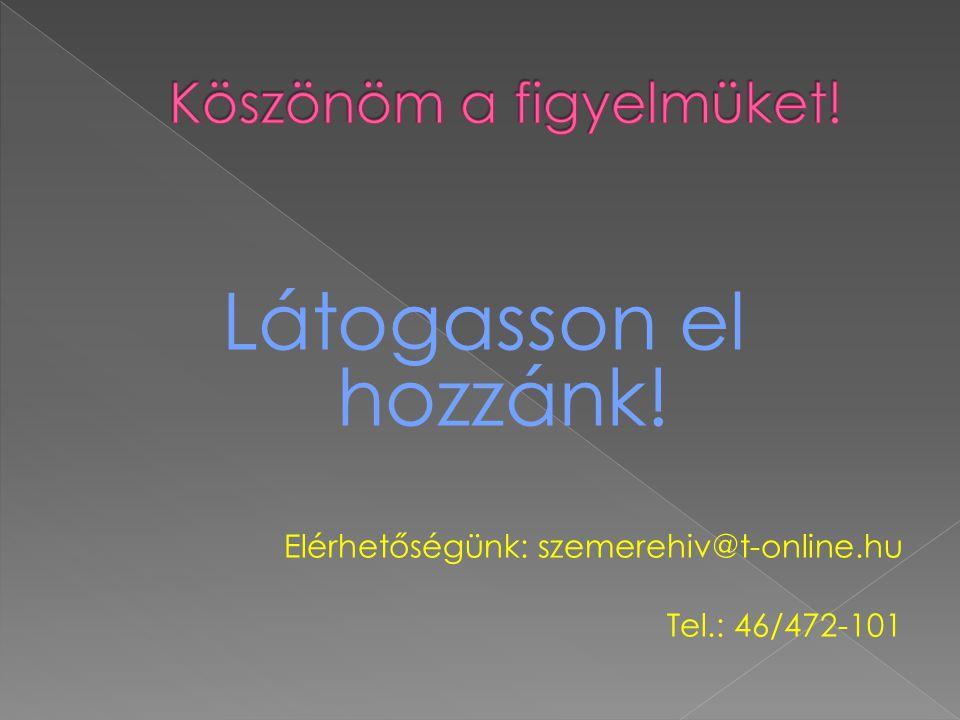 Látogasson el hozzánk! Elérhetőségünk: szemerehiv@t-online.hu Tel.: 46/472-101