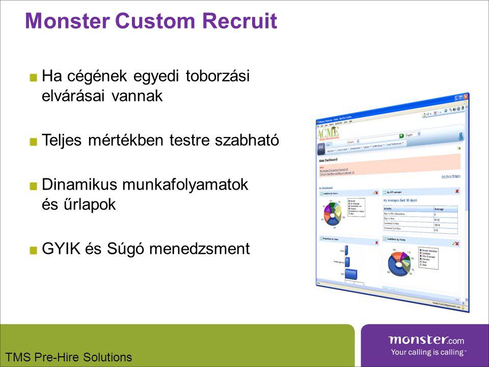 Monster Custom Recruit Ha cégének egyedi toborzási elvárásai vannak Teljes mértékben testre szabható Dinamikus munkafolyamatok és űrlapok GYIK és Súgó menedzsment TMS Pre-Hire Solutions