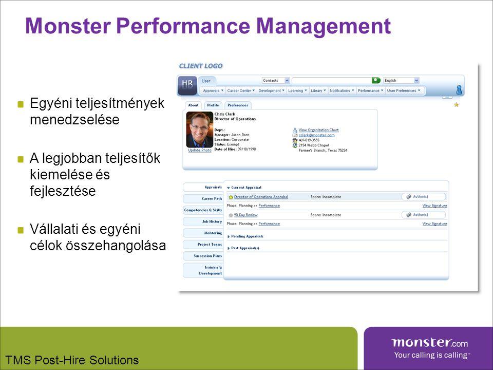 Monster Performance Management Egyéni teljesítmények menedzselése A legjobban teljesítők kiemelése és fejlesztése Vállalati és egyéni célok összehangolása TMS Post-Hire Solutions