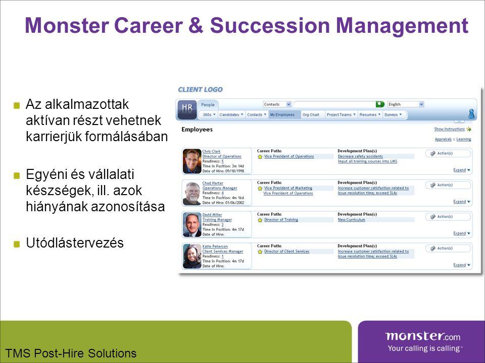 Monster Career & Succession Management Az alkalmazottak aktívan részt vehetnek karrierjük formálásában Egyéni és vállalati készségek, ill.
